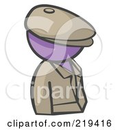 Royalty Free RF Clipart Illustration Of A Purple Man Avatar Detective