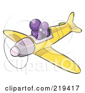 Royalty Free RF Clipart Illustration Of A Purple Design Mascot Man Flying A Plane With A Passenger by Leo Blanchette