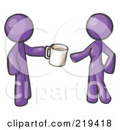 Purple Man Giving A Woman A Cup Of Coffee by Leo Blanchette