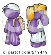 Royalty Free RF Clipart Illustration Of A Purple School Boy And Girl With Backpacks by Leo Blanchette
