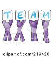 Purple Design Mascot Group Holding Up Team Signs