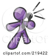 Royalty Free RF Clipart Illustration Of A Purple Man A Comedian Or Vocalist Wearing A Tie Standing On Stage And Holding A Microphone While Singing Karaoke Or Telling Jokes Clipart Illustration