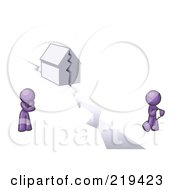 Royalty Free RF Clipart Illustration Of A Purple Design Mascot Man And Woman With A House Divided