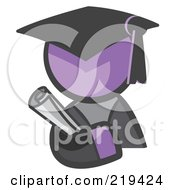 Purple Man Avatar Graduate Holding A Diploma by Leo Blanchette