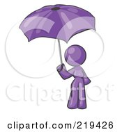Royalty Free RF Clipart Illustration Of A Purple Design Mascot Woman Under An Umbrella by Leo Blanchette