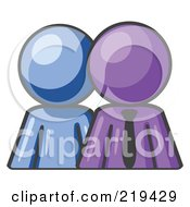 Blue Person Standing Beside A Purple Businessman Symbolizing Teamwork Or Mentoring