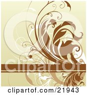Clipart Picture Illustration Of A Brown Text Bar With Tan Brown And White Curly Vines On A Tan Background