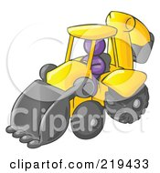 Purple Man Operating A Yellow Backhoe Machine At A Construction Site