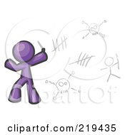 Royalty Free RF Clipart Illustration Of A Purple Design Mascot Man Writing Tribal Designs On A Wall by Leo Blanchette