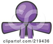 Royalty Free RF Clipart Illustration Of A Purple Businessman Wearing A Tie Facing Front And Holding His Arms Out At His Sides Perhaps Ready To Hug Someone Or Symbolizi by Leo Blanchette