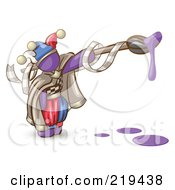 Royalty Free RF Clipart Illustration Of A Purple Man Design Mascot Jester With A Dripping Paintbrush by Leo Blanchette