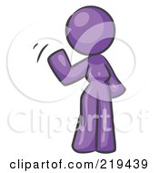Royalty Free RF Clipart Illustration Of A Purple Design Mascot Woman Waving