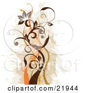 Clipart Picture Illustration Of A Green And Brown Vine Plant With Scrolls And Orange Blossoms Over A Faded Brown And White Background