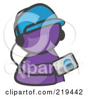 Royalty Free RF Clipart Illustration Of A Purple Man Avatar Holding An Mp3 Player