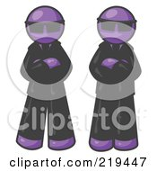 Clipart Illustration Of Two Purple Men Standing With Their Arms Crossed Wearing Sunglasses And Black Suits by Leo Blanchette