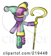 Royalty Free RF Clipart Illustration Of A Purple Man In A Jester Costume Holding A Yellow Staff by Leo Blanchette
