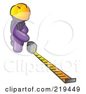 Purple Man Contractor Wearing A Hardhat Kneeling And Measuring by Leo Blanchette