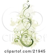 Green Vine Plant With Blooming Flowers Over A Faded Green And White Background