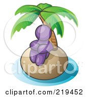 Purple Man Sitting All Alone With A Palm Tree On A Deserted Island