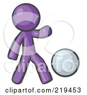 Royalty Free RF Clipart Illustration Of A Purple Man Kicking A White Ball by Leo Blanchette