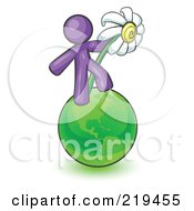 Purple Man Standing On The Green Planet Earth And Holding A White Daisy Symbolizing Organics And Going Green For A Healthy Environment
