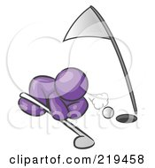 Clipart Illustration Of A Purple Man Down On The Ground Trying To Blow A Golf Ball Into The Hole by Leo Blanchette
