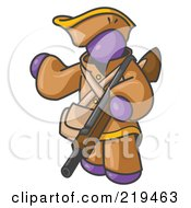 Purple Man In Hunting Gear Carrying A Rifle by Leo Blanchette