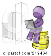 Royalty Free RF Clipart Illustration Of A Purple Man Sitting On Coins And Using A Laptop By A Bar Graph by Leo Blanchette