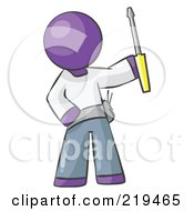 Purple Man Electrician Holding A Screwdriver by Leo Blanchette