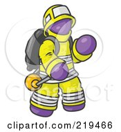 Purple Fireman In A Uniform Fighting A Fire by Leo Blanchette