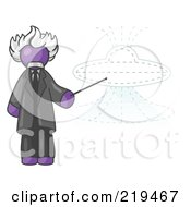 Purple Einstein Man Pointing A Stick At A Presentation Of A Flying Saucer