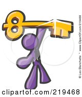 Purple Businessman Holding A Large Golden Skeleton Key Symbolizing Success by Leo Blanchette