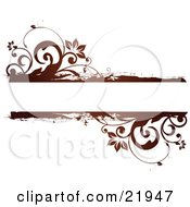Clipart Picture Illustration Of A Red And Brown Flowers And Vines Framing A Text Space On A White Background