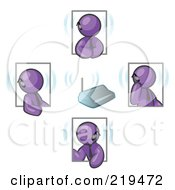 Clipart Illustration Of A Group Of Four Purple Men Holding A Phone Meeting And Wearing Wireless Bluetooth Headsets