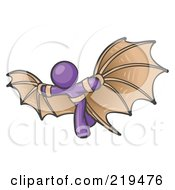 Clipart Illustration Of A Determined Purple Man Strapped In Glider Wings Prepared To Make Flight