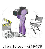 Clipart Illustration Of A Purple Man Filming A Movie Scene With A Video Camera In A Studio