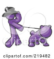 Royalty Free RF Clipart Illustration Of A Purple Man Walking A Tough Bulldog On A Leash