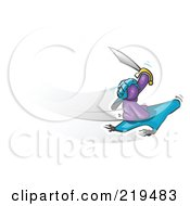 Royalty Free RF Clipart Illustration Of A Purple Man Holding Up A Sword And Flying On A Magic Carpet by Leo Blanchette