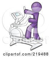 Royalty Free RF Clipart Illustration Of A Purple Man Exercising On A Cross Trainer In A Gym
