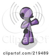 Clipart Illustration Of A Purple Customer Service Representative Taking A Call With A Headset In A Call Center