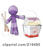 Purple Man Design Mascot Holding Chopsticks By A Chinese Takeout Container