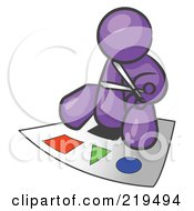 Clipart Illustration Of A Purple Man Holding A Pair Of Scissors And Sitting On A Large Poster Board With Colorful Shapes by Leo Blanchette
