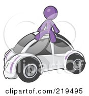 Purple Man Sitting On Top Of A Slug Bug by Leo Blanchette