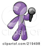 Purple Man Standing On Stage And Holding A Microphone While Singing Karaoke Or Telling Jokes