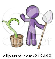 Royalty Free RF Clipart Illustration Of A Purple Man Holding A Shovel By A Potted Plant by Leo Blanchette