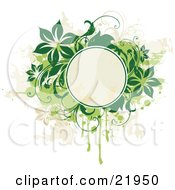 Clipart Picture Illustration Of A Blank Yellow Text Circle With Green And Tan Vines Flowers And Splatters