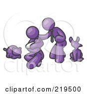 Purple Family Father Mother And Newborn Baby With Their Dog And Cat