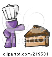 Clipart Illustration Of A Purple Chef Man Wearing A White Hat And Presenting A Tasty Slice Of Chocolate Frosted Cake