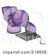 Royalty Free RF Clipart Illustration Of A Purple Design Mascot Laying On His Belly And Drawing On A Tablet by Leo Blanchette