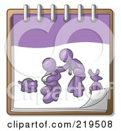 Purple Family Showing A Man Kneeling Beside His Wife And Newborn Baby With Their Dog And Cat On A Notebook Symbolizing Family Planning